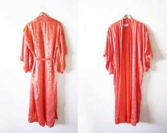 Silk Robe / Silk Kimono Robe / Coral / Vintage Womens Robe
