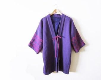 Embroidered Coat / Guatemalan Jacket / Kimono Jacket / Purple and Pink Duster Coat / Bohemian Clothing