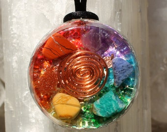 7 Chakras Orgone Energy Copper Spiral Pendant