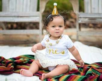 1st Birthday Mini Party Hat //  Gold First Birthday Hat // 1st Birthday hat // READY to SHIP // by Born TuTu Rock