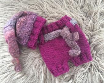 SALE!  Newborn Girl  Photo Prop ,Baby Girl Hat,Shorts ,Baby girl knit hat,shorts,Photo prop Hat,Photo prop set