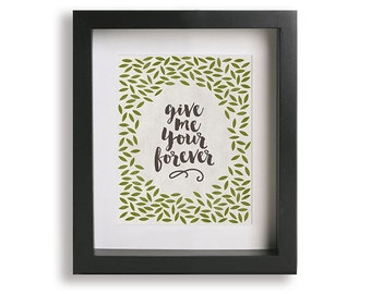 Forever inspired song lyrics art print - wedding gift idea, home decor, graphic art, wall decor, art, leaves, anniversary gift idea