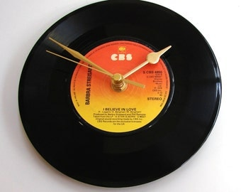 """BARBARA STREISAND Vinyl Record Clock, """"I Believe In Love"""", made from a recycled 7 inch single, vinyl record, ombre orange black"""