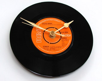"David Bowie Vinyl Record CLOCK. ""Sorrow"", RIP, made from a recycled 7 inch single, black and orange, gift for guys, girls, husband, wife,"