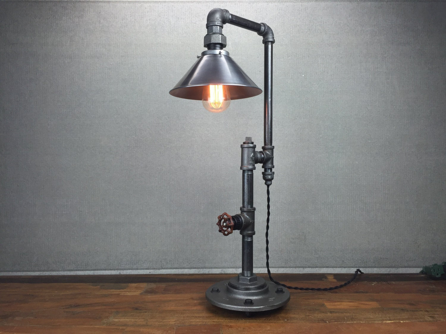 metal shade table lamp industrial furniture edison bulb