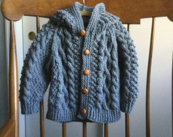 Baby Irish Knit Hooded Sweater