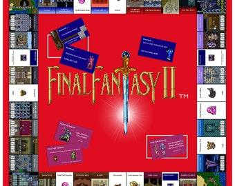 Video Game Art Print - Final Fantasy IV - Monopoly Tribute - Super Nintendo Tribute