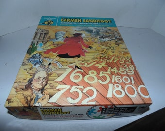 Vintage 1991 Where In Time is Carmen Sandiego Unlocking Treasure Golden Mystery Puzzle