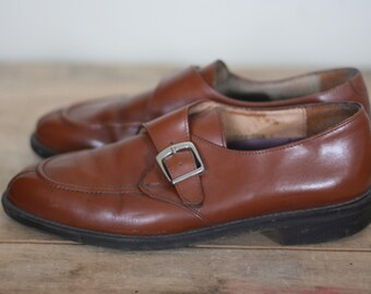 vintage brown leather slip on shoes mens size 8.5M by anthony reed
