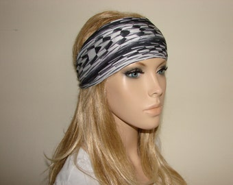 black white yoga headband - turban headband - workout headband - woman tribal boho head wrap - bandana