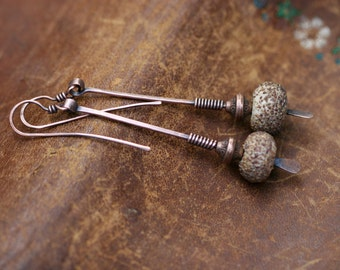 Rustic Jewelry . Earthy * The Desert * Sanded artisan lamp work earrings n.49 - hand forged elongate stick earrings .  natural woman .  sand