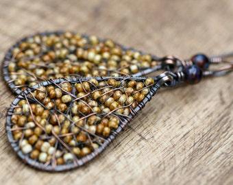 SALE Rustic Wanderlust  Beaded earrings- boho jewelry . yellow mustard color . large beaded drop . glass beads earrings . folk ethnic
