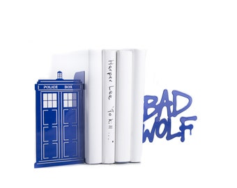 Bookends // Tardis / Police Box Blue Phone Booth / Bad Wolf Graffiti Dr Who inspired / Book holders for TV series fans / FREE SHIPPING