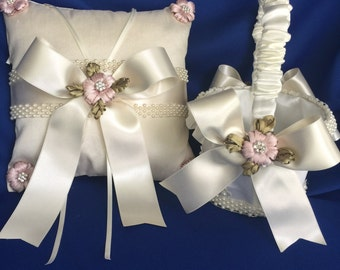 ivory flower girl basket and ring bearer pillow with handmade embroidery flowers