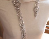 expedite shipping - rhinestone sash applique, crystal applique for wedding sash, 31.5 inches