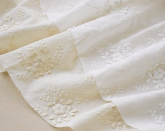 off white cotton lace fabric with 3D flowers by the yard