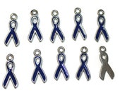 Awareness Ribbon Charms - Navy Blue Enamel - 10 Charms (036)