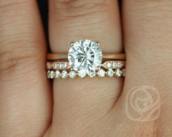 Skinny Flora 8mm, Stella, Pte Naomi 14kt Rose Gold Round FB Moissanite and Diamond TRIO Wedding Set (Other metals and stones available)