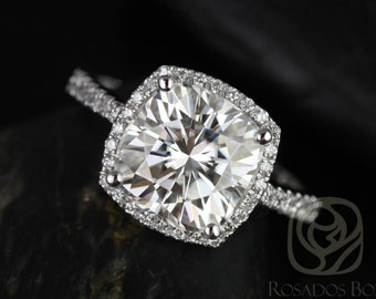 Rosados Box Brandi 9mm 14kt White Gold Cushion Cut F1- Moissanite and Diamonds Halo Engagement Ring (Other metals options available)