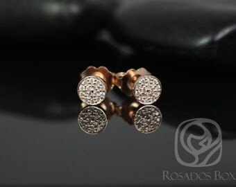 Diskco 5mm 14kt Rose Gold Diamond Pave Disk Stud Earrings (Other metals available)