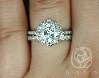 Rosados Box Rori 7mm & Petite Bbls 14kt White Gold Cushion F1- Moissanite and Diamond Halo WITHOUT Milgrain Wedding Set