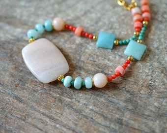 Amazonite necklace Coral necklace Semi precious gem stone Peach aqua bead necklace Modern boho chic necklace Summer beach eclectic jewelry
