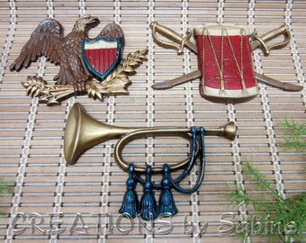 FREE SHIPPING Sexton Revolutionary War Wall Hangings Set of 3 Cast Metal Eagle Shield  Bugle Drum Swords Patriotic USA Vintage (431)