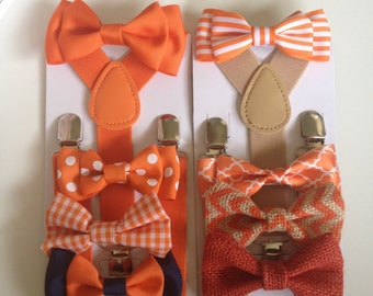Orange Baby Bow Tie & Suspender Set Newborn to Adult Little Boys Bowties Mens Neckties Ring Bearer Wedding Birthday Party Outfit  Photo Prop