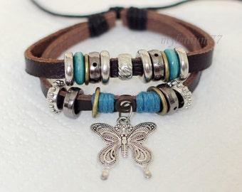 044 Women's leather bracelet Butterfly bracelet Charm bracelet Rings bracelet Cotton ropes bracelet Fashion jewelry For women & girls Gift