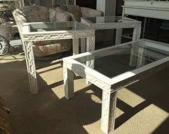 Fretwork end and coffee table set