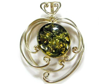 Natural Baltic green amber pendant.