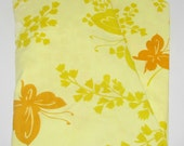 Vintage Twin Fitted Sheet, Yellow Orange Flowers & Butterflies, Springmaid Percale, Crafting Quilting Fabric, Dorm Guest Room Bedding, Linen