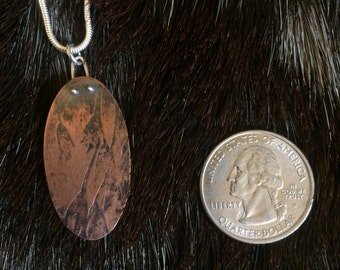 Copper leaf impression pendant
