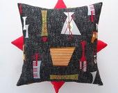 Tiki barkcloth cushion cover in black/red