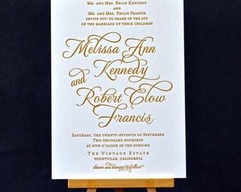 Script Letterpress Wedding Invitations - DEPOSIT