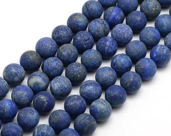 Matte Lapis Lazuli Gemstone Beads, 6mm Round - 15 inch strand - eGR-LL003-6