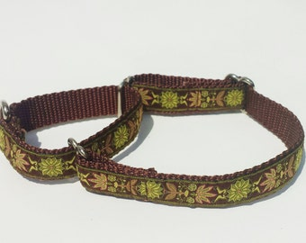 "3/4"" Martingale with pretty woven flower pattern, Chocolate and lime green"