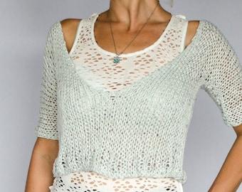Cropped T_Shirt, V Neck Knit Top
