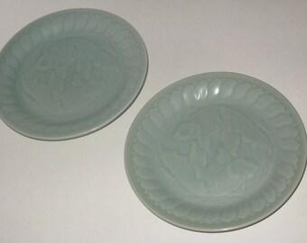Vintage Chinese Longquan Celadon Green Sushi Plates Embossed Goldfish Porcelain Koi Salad Dessert Plate Dipping Saucers