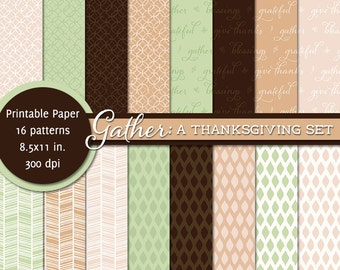 PRINTABLE • 8.5x11 Digital Paper Pack • Thanksgiving: Gather • INSTANT DOWNLOAD
