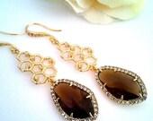 Smoky Quartz Dangle Earrings, gold Drop earrings, bridesmaid gifts,Wedding jewelry,bridal earrings, birdesmaid jewelry