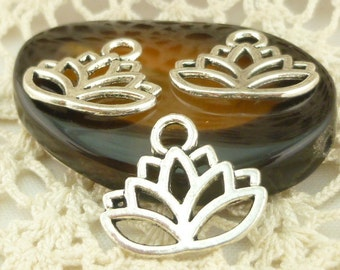 Antiqued Silver Lotus Flower Charms (8) - S9