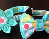 Dog Collar Flower/Bow Tie Set - Aqua Double Dot - Size XS, S, M, L, XL
