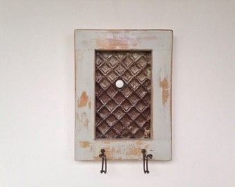 Framed Ceiling Tin Magnet Board and Jewelry Organizer / Key Holder  Handmade using Reclaimed Wood