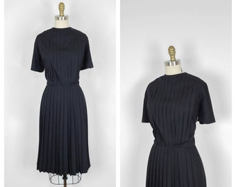 50s Black Cotton Pleated Dress • 1950s Short Sleeve Day Dress • Causal Vintage • Large