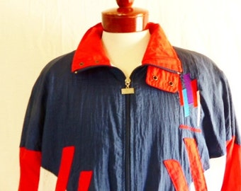 vintage 80's 90's Jimmy Connors color block red white blue stripe panel full zip up track warm up windbreaker ski jacket embroidered logo XL