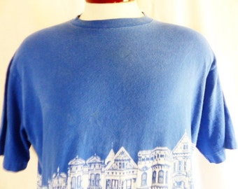 vintage 80's 90's San Francisco California Victorian Painted Ladies houses royal blue graphic t-shirt double sided front back white logo XL