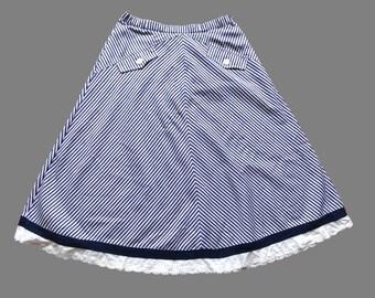 Vintage 80's Striped Skirt UK 12 - 14