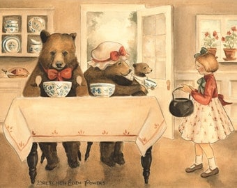 Goldilocks and the Three Bears Print 10x8 - illustration, storybook, fairy tale, woodland, cottage, classic, literature, children's book art