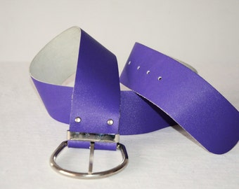 Vintage EXCELLENT Genuine Leather Belt Women Classic Disco Accesory Fashion Wide Violet Lilac Belt